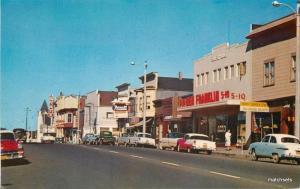 1950s Fort Bragg California Mendocino Rexall Drug Autos street scene  10698
