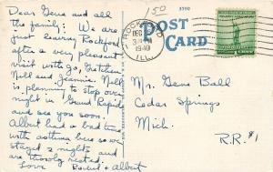 Rockford Illinois~Abraham Lincoln Junior High School~1940 Linen Postcard