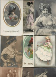 Beautiful Women Flowers Dresses and more with RPPC Postcard Lot of 20 01.16