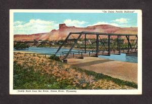 WY Castle Rock Bridge Green River Wyoming Postcard, On Union Pacific Railroad