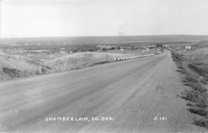 Chamberlain South Dakota~Highway #16 Showing State Bridge in Distance~1940s RPPC