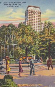 Court Square Showing Sterick Building Memphis Tennessee Curteich