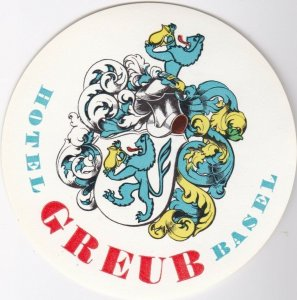 Switzerland Basel Hotel Greub Vintage Luggage Label lbl0959