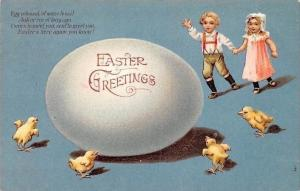 Embossed: Easter Greetings! giant Egg colossal of some fossil, chicken 1908