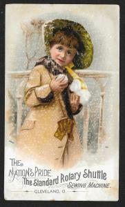 VICTORIAN TRADE CARD Standard Sewing Co Girl in Coat & Hat With Snowballs