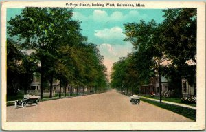 Columbus, Mississippi Postcard College Street, Looking West Houses 1946 Cancel