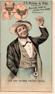 VICTORIAN TRADE CARD, F. E. MYERS & BRO. PUMP