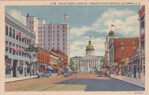 South Carolina Columbia Main Street Looking Toward State Capitol Curteich sk1480