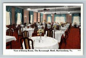 Harrisonburg VA-Virginia, Kavanaugh Hotel, Dining, Advertising, Vintage Postcard