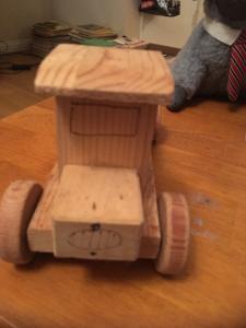 Folk Art Primitive Wood Truck /Domino Case Made by CARL KOROKNAY Camarillo CA