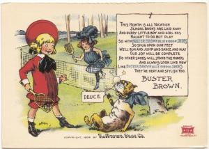 Buster Brown Shoes, reproduction of old card, unused Postcard
