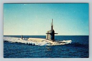 Military - U.S.S. Thomas A. Edison Submarine, Launched 1961, Chrome Postcard