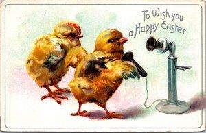 TUCKS Anthropomorphic Easter baby chicks calling on candlestick telephoneÊ