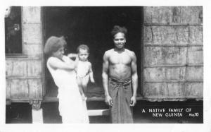 New Guinea Native Family Hut Shake Real Photo Antique Postcard K22521