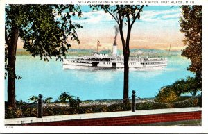 Michigan Port Hron Steamship Going North On St Clair River 1939