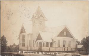 Ohio Real Photo RPPC Postcard 1912 BALTIMORE ME Church Building Lancaster