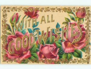 Pre-Linen GOOD WISHES AND GOLD LETTERING WITH PINK ROSE FLOWERS k4738