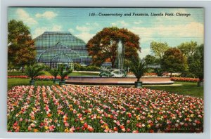 Chicago IL-Illinois, Conservatory & Fountain at Lincoln Park Linen Postcard