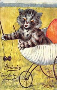 Louis Wain Diabolo Evan Baby Plays It Signed Dressed Cat Postcard