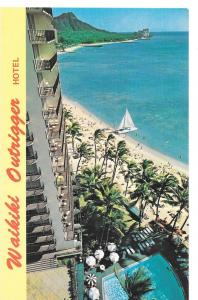 Hawaii Waikiki Outrigger Hotel Diamond Head Vtg Postcard HI