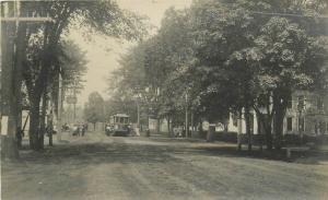 c1910 Lewiston Maine Minot Corner Trolley Street View RPPC Real Photo