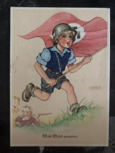 Mint WW2 Germany War propaganda Postcard With Courage Child Third Reich