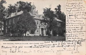 D48/ New Athens Ohio Postcard 1906 Main Building Franklin College