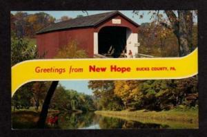 PA Greeting from NEW HOPE PENNSYLVANIA PENN Postcard PC
