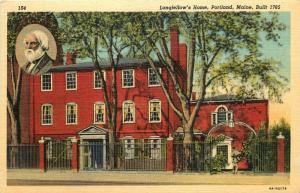 Portland, Maine, ME, Longfellow's Home, 1934 Linen Vintage Postcard e7848