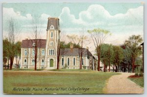 Waterville Maine~Colby College~Memorial Hall~Campus View~1910 Postcard