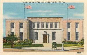 Panama City Florida~United States Post Office~Mail Dropbox~1940s Postcard