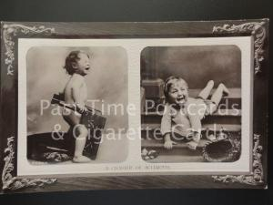 Framed postcard of a small child crying RP c1909