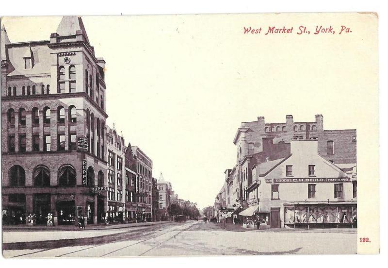 York PA West Market St. Rupp Schmidt Building Vntg Postcard