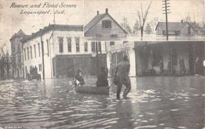 Logansport Indiana Rescue And Flood Scene Antique Postcard K77061