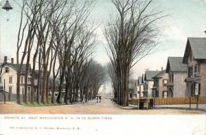 West Manchester New Hampshire~Granite Street Homes~Hanging Lamp~Horses~c1905
