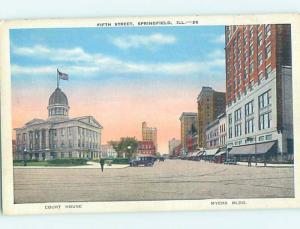 Linen STREET SCENE Springfield Illinois IL W1906