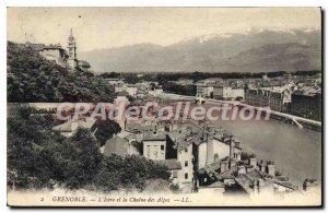 Old Postcard Grenoble Isere and La Chaine Des Alpes
