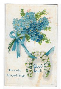 Greetings Good Luck Horseshoe Flower Forget Me Not Embossed Winsch Back Postcard