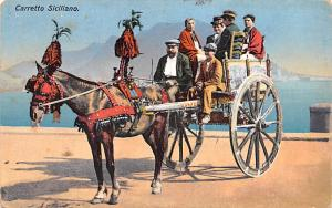 Italy Old Vintage Antique Post Card Carretto Siciliano 1914