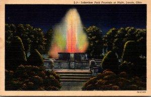 Ohio Lorain Lakeview Park Fountain At Night Curteich