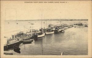 Block Island RI Camplins Dock New Harbor - Boats Postcard