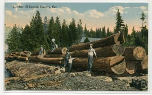Lumber Logging El Dorado County California 1910c postcard