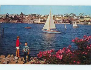Pre-1980 SAIL BOAT & BUILDINGS ALONG SHORE Newport Harbor California CA Q1129