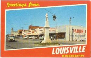 Street Scene Greetings from Louisville Mississippi MS, Chrome