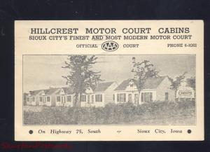 SIOUX CITY IOWA HILLCREST MOTOR COURT CABINS ROADSIDE ADVERTISING POSTCARD B&W