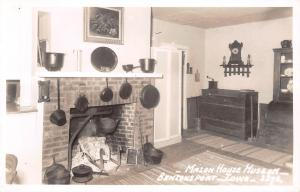 Bentonsport Iowa~Mason House Museum~Mormon Inn~Kitchen Hearth~Kettles~1960s RPPC