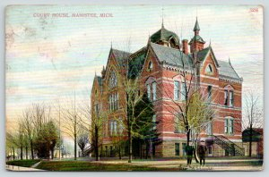 Manistee Michigan~Manistee County Courthouse~Little Boys on Sidewalk~1907