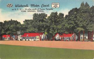 York Springs Pennsylvania Wishards Motor Court Antique Postcard K64934