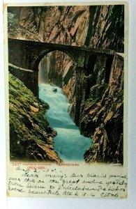 C. 1905 Andermatt Switzerland Teufelsbrucke Devils Bridge UDB Vintage Postcard