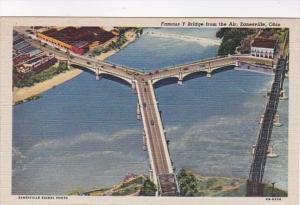 Ohio Zanesville Famous Y Bridge From The Air Curteich